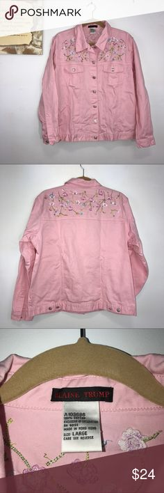 "Blaine Trump Pink Embroidered Woman's Jacket Lg Blaine Trump pink ladies jacket with embroidered flowers on front and back yoke. Two front pockets. Lying flat, approximate measurements are: bust and waist 24""; lower hem width 23""; length 24"". (J01-12)  🌼 No holes, piling or stains. Items stored in smoke free, pet free, perfume free environment. No trades or modeling. Same or next day shipping.  Save by bundling. All offers should be submitted with the offer button. Blaine Trump Jackets…"