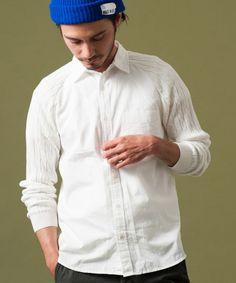 BLE RAGLAN COMBI シャツ ホワイト×S  green label relaxing MEN/グリーンレーベル リラクシング メン 公式通販サイト - セレクトスクエア