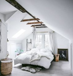 Loft bedrooms often leave structural and functional elements exposed, inclusive of support beams, rafters, and ducts. One of our favorite signature details to emulate a more rustic loft look is...
