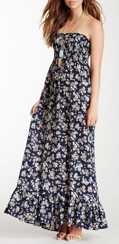 Penny Strapless Silk Maxi Dress - cute pattern, i would like it shorter, like a sundress