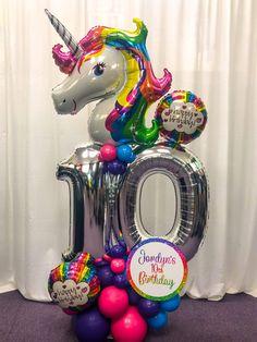 Balloon Arrangements, Balloon Decorations, Birthday Decorations, 3rd Birthday Parties, Birthday Balloons, Champagne Balloons, How To Make Balloon, Unicorn Balloon, Birthday Bouquet