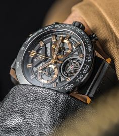 """TAGHeuer Carrera Heuer-02T $15,000 Tourbillon Chronograph Watch Hands-On -by David Bredan- see the full details on aBlogtoWatch.com """"The time has come: the least expensive tourbillon watch yet from a major Swiss brand is officially here. Naturally, we were eager to go hands-on with it at TAG Heuer's massive Baselworld 2016 booth. This is the TAG Heuer Carrera Heuer-02T, a watch that is actually as powerful and surprising in the metal as it was when originally announced one full year…"""