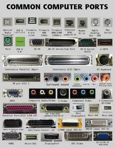 Hardware components are connected using different types of computer ports. Each computer hardware component or device has its specific functions. Computer Basics, Der Computer, Computer Case, Computer Technology, Computer Science, Gaming Computer, Medical Technology, Computer Programming, Energy Technology