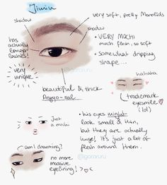A lot of studies I've seen for the boys mention that Jimin's eyes are small or they don't mention size at all. Jimin's eyes are actually strikingly large once you pay attention. I like this guide because it brings that to attention so thanks to whoever created this! Super helpful!