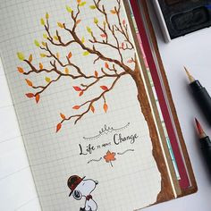 """""""Life is about change"""" This week's page on my midori ❤ #snoopy #autumn #life #quotestoliveby #quoteoftheday #tree #leaves #autumnleaves #midoritravelersnotebook #midori #art #journal #weekly #insert #fall #november #change #watercolor #peanuts #calligraphy #paint #journaling #love"""