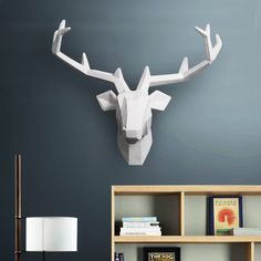 4 Color Available New Metallic Plating Animal Deer Head Wall Decoration Head Resin Wall Ornament Xmas Gift Creative Gift