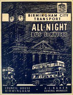 Birmingham all Night Bus Service vintage travel poster von stickart-marek Susan Sontag, Wilhelm Busch, Night Bus, Council House, Tourism Poster, Birmingham England, Bus Coach, Wanderlust, Vintage Travel Posters