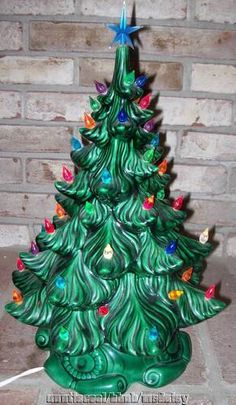 """1960s Vintage 18"""" Atlantic Mold Green Ceramic Christmas Tree -- Tillie made ours!!!!!"""