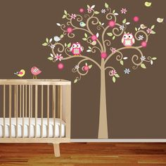 Curly Flower Tree with Owls and Birds - Nursery Vinyl Wall Decal via Etsy