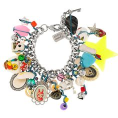 Venessa Arizaga Pinata silver-plated charm bracelet ($130) ❤ liked on Polyvore featuring jewelry, bracelets, accessories, pulseiras, pulseras, charm bracelet bangle, colorful bracelet, multi colored bracelet, charm bangle and charm bracelet jewelry