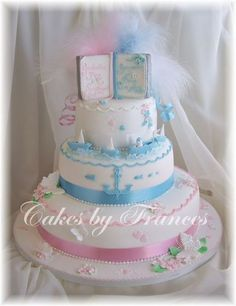 3 tier Christening Cake for boy girl twins!