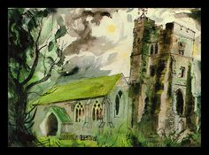 """""""Newchurch, Romney Marsh"""" by John Piper Edward Hopper, John Piper Artist, Romney Marsh, Art Through The Ages, Building Art, A Level Art, Sense Of Place, Contemporary Paintings, Cool Artwork"""