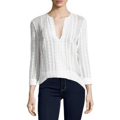 Elizabeth And James Riley Embroidered Silk Blouse ($345) ❤ liked on Polyvore featuring tops, blouses, ivory, women's apparel tops, embroidered tops, sweater pullover, scalloped blouse, white pullover and ivory blouse