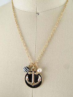 Black Enamel Goldtone Anchor Charm Pendant Necklace