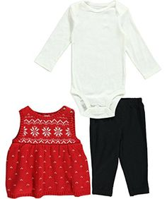 """Sweater Dress (100% Cotton) Bodysuit (100% Cotton) Leggings (95% Cotton, 5% Polyester) Carter's Baby Girls' """"Snowflake Row"""" 3-Piece Outfit - red, 3 months"""