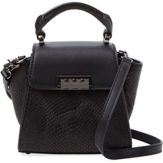 ZAC Zac Posen Eartha Iconic Mini Snakeskin Embossed Leather Satchel ($159) ❤ liked on Polyvore featuring bags, handbags, black, black purse, satchel handbags, black satchel handbag, embossed leather handbag and black handbags