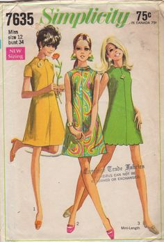 Simplicity 7635 1960s Misses Dress Pattern Twiggy Mini Dress with scalloped neck and hemline womens vintage sewing pattern by mbchill