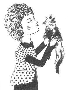 kisses (girl and cat illustration)