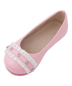 Love this Pink Sophia Frill Diamonte Flat by Mini Treasure Kids on #zulily! #zulilyfinds