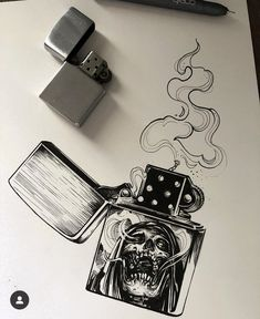 Different picture on the lighter and sold Creepy Drawings, Dark Art Drawings, Creepy Art, Cool Drawings, Skull Tattoos, Body Art Tattoos, Sleeve Tattoos, Cool Tattoos, Tattoo Sketches