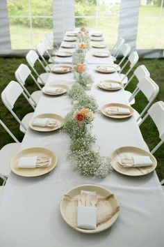 wedding reception tablescape featuring a baby's breath table runner and eco-friendly tableware - Table Settings Bamboo Plates Wedding, Disposable Wedding Plates, Wedding Paper Plates, Deco Table Communion, Diy Wedding, Wedding Reception, Trendy Wedding, Garden Wedding, Buffet Wedding