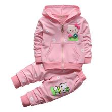 New girls clothing set hello kitty clothes for baby girls hooded coat+pant 2-piece set pink yellow red Christmas clothing(China (Mainland))