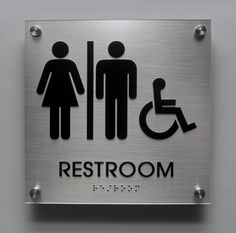 Brushed Aluminum look Unisex ADA restroom sign with handicap pictogram and stainless steel standoffs (Houghton Series)