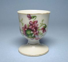 Vintage Egg Cup with Spring Violets Sale by BewitchingVintage