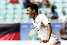 Mexico's Erick Gutierrez celebrates his goal during a group C match of the men's Olympic football tournament between Mexico and Fiji at the Fonte Nova Arena in Salvador, Brazil, Sunday, Aug. 7, 2016. (AP Photo/Arisson Marinho)     Brazil disappoints again in men's soccer, draws Iraq 0-0  -  August 7, 2016