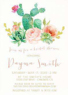 Bridal Shower Invitation Succulent Watercolor Flowers