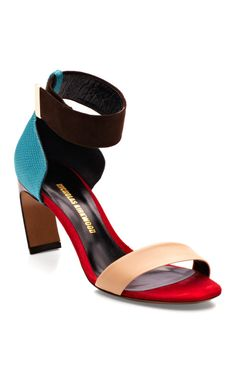 Nicholas Kirkwood-Nude/Blue/Chocolate Bow Heel Sandal