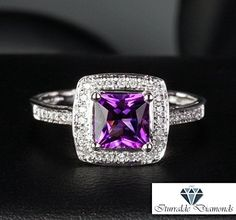 813.40$  Buy now - http://viyqo.justgood.pw/vig/item.php?t=c5gjxu41440 - 14k Princess Cut Amethyst Diamond Pave Halo Antique Style Ring