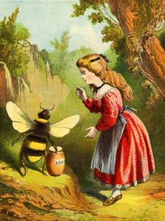 Vintage Giant Bee & Little Girl illustration Honey Bee Hives, I Love Bees, Vintage Bee, Vintage Ideas, Vintage Colors, Bee Skep, Bee Art, Save The Bees, Bee Happy
