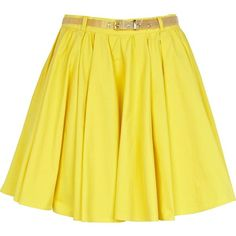 River Island Yellow belted mini skater skirt (€14) ❤ liked on Polyvore featuring skirts, mini skirts, bottoms, saias, yellow, belted mini skirt, yellow cotton skirt, mini circle skirt, flared skirt and skater skirt