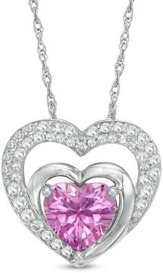 Zales 10.0mm Lab-Created Pink and White Sapphire Pendant in Sterling Silver C65M2jjX