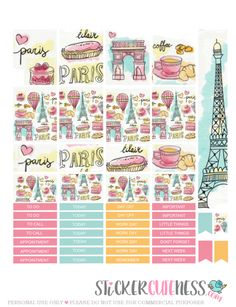 Free Printable Je t'aime Paris Planner Stickers from StickerCuteness
