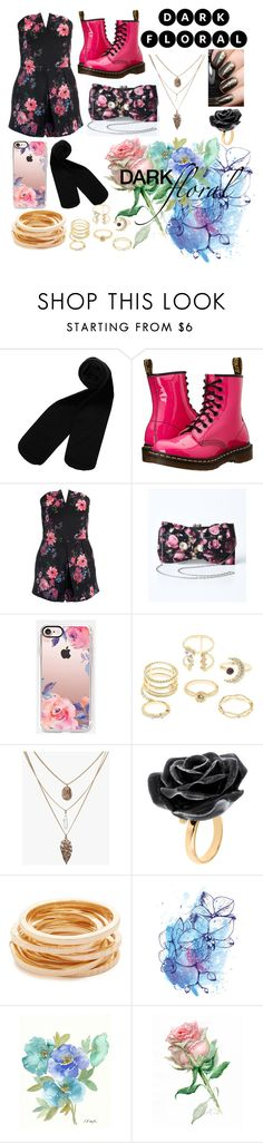 """Dark Floral"" by bezaliel ❤ liked on Polyvore featuring Monki, Dr. Martens, Sans Souci, Casetify, Charlotte Russe, Nach Bijoux and Kenneth Jay Lane"