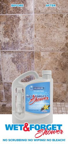 Never Scrub Your Shower Again! Wet & Forget Shower Cleaner takes the hard work out of cleaning your shower and tub. Simply spray the shower and rinse clean. There's no scrubbing, no bleach, and no harsh fumes. Wet & Forget was featured on The Today Show Household Cleaning Tips, Cleaning Checklist, Household Cleaners, Cleaning Recipes, House Cleaning Tips, Spring Cleaning, Cleaning Hacks, Cleaning Supplies, Cleaning Items