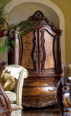 AICO Armoire Chateau Beauvais - The influence of French Rococo design comes to life with the signature pierced carvings, intricate inlaid . Furniture Depot, Bed Furniture, Rustic Furniture, Antique Furniture, Living Room Furniture, Modern Furniture, Furniture Ideas, Industrial Furniture, Office Furniture