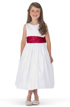 Main Image - Us Angels White Tank Dress with Satin Sash (Toddler, Little Girls & Big Girls)
