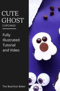 Halloween ghost cupcakes are tasty and easy to make! With just a few pieces of foil, you can reshape standard cupcakes into ghost shapes. From there, you can decorate these Halloween ghost cupcakes easily! The Bearfoot Baker Blog has a full tutorial and video on how to make this simple Halloween dessert idea! #thebearfootbaker #halloween #halloweendessert #halloweencupcakes