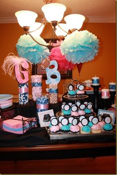 gender reveal - like the ribbons around white candles...can reuse candles rather than buying pink & blue candles Baby Party, Baby Shower Parties, Baby Shower Themes, Baby Shower Decorations, Baby Shower Gifts, Baby Gifts, Shower Ideas, Baby Gender Reveal Party, Gender Party
