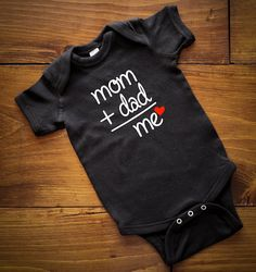 Mom+Dad equals Me onesie,Kids Shirt, Baby Clothes Baby Fashion, Baby Onesie… Baby Shirts, Kids Shirts, Onesies, Baby Onesie, Diy Bebe, Baby Girl Birthday, Baby Time, Kids Fashion, Fashion Clothes