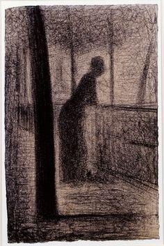 """Georges Seurat, """"Donna appoggiata a un parapetto della Senna"""", Parigi Collezione Prat"""