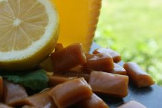 Honey & Lemon Sore Throat Candy Drops Recipe - ZipList (check out later) Flu Remedies, Herbal Remedies, Drops Recipe, Honey Candy, Sooth Sore Throat, Candied Lemons, Homemade Candies, Homemade Food, Honey Lemon