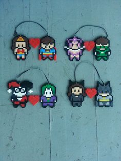 Super Hero Couples Christmas Ornament perler beads by BurritoPrincess