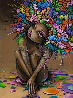 Rainbow afro!