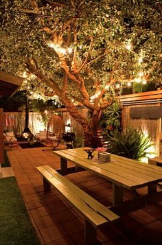 Lighting makes for a relaxing garden space