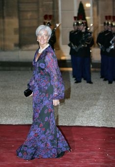 Christine Lagarde Evening Dress - Lagarde stepped out in this feminine frock at the state dinner for Chinese president, Hu Jintao.