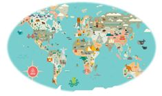 Map of the world with countries for children by Julie Mercier. Available as a giclee print, or canvas world map, or Dibond mounted, in 3 colors World Map Mural, World Map Poster, New York City Map, City Maps, Maps For Kids, Map Globe, Wall Maps, We Are The World, Travel Themes